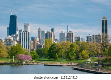 The Chicago skyline and South Pond at Lincoln Park in Chicago, Illinois