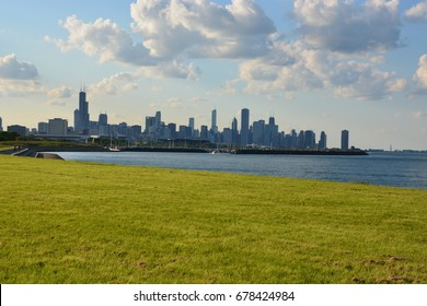 Chicago skyline from the south side lakefront in late summer.