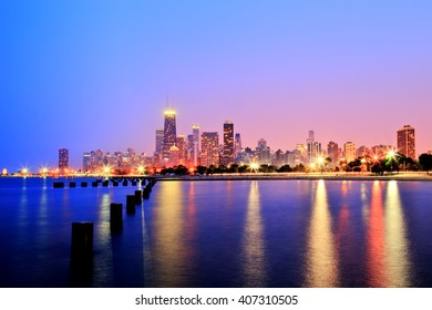 Chicago Skyline at Sunset in Epic Colors