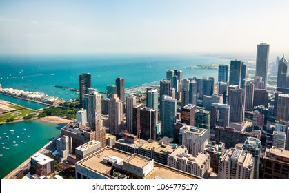 Chicago Skyline top view with skyscrapers at Michigan lakefront, Illinois, USA