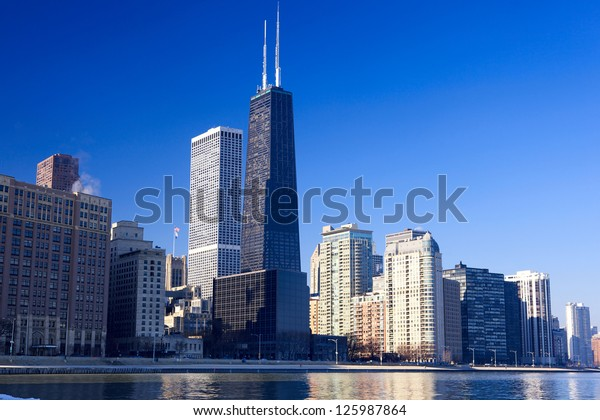 Chicago skyline with urban skyscrapers, IL, USA