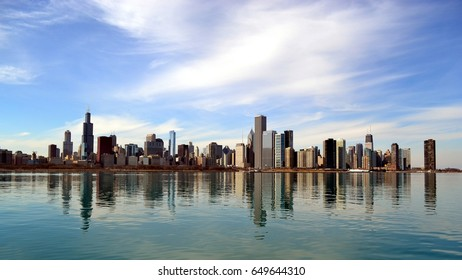 Chicago skyline ,view from Lake Michigan