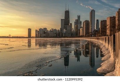 Chicago skyline winter