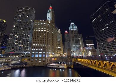 Chicago Skyscrapers and Michigan Avenue Bridge. Corner of East Wacker Drive and North Michigan Avenue.