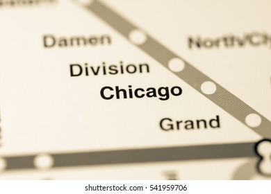 Chicago Station. Chicago Metro map.