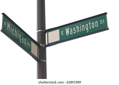 Chicago street signs on white background