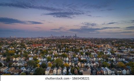 Chicago suburbs, after sunset, overlooking downtown