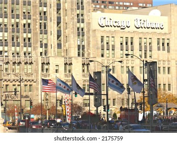 Chicago Tribune Tower in Chicago in Autumn