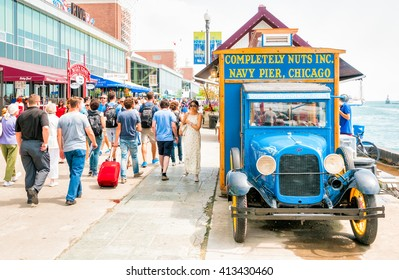 CHICAGO, UNITED STATES - AUGUST 24, 2015: Tourists at the amusement park on Navy Pier.