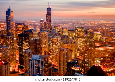 Chicago, United States - October 04 2016: view of the town of Chicago in the state of Illinois with its high skyscrapers