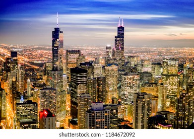 Chicago, United States -October 14 2015:  sunset on the town of Cicago with the skyscrapers of the financial district