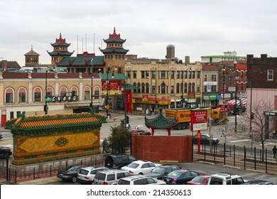 CHICAGO, US - APRIL 13, 2007: Aerial view of Chicago Chinatown, found in 1912 and located at south side. Here is the second largest Chinatown in the United States