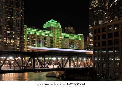 CHICAGO, USA -16 NOV 2019- View of digital lights on the Merchandise Mart, a landmark historic building on the Chicago River.