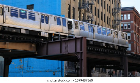 CHICAGO, USA - 16 NOVEMBER 2019: Train on elevated track in downtown Chicago
