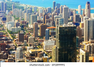 CHICAGO, USA - 20 July, 2017: aerial view of city of Chicago Chicago view of the city