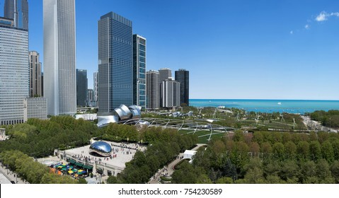 Chicago, USA - 5 May 2017: Downtown Chicago cityscape of Millenium park. Aerial view of Millenium park in Chicago, USA