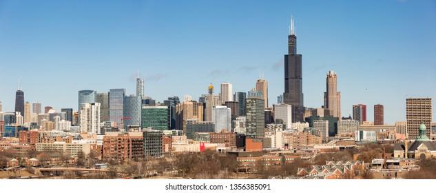 Chicago, USA - April 1, 2019: Panoramic views of the skyline of Chicago, Illinois.
