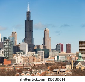 Chicago, USA - April 1, 2019: Partial view of the skyline of Chicago, Illinois.