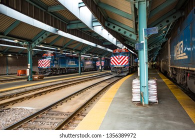 Chicago, USA - April 1, 2019: View of trains and railroads in Chicago.