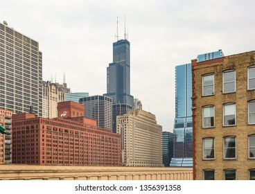 Chicago, USA - April 1, 2019: Views of the West Loop of Chicago.