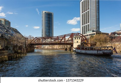 Chicago, USA - April 15, 2019: Chicago loop buildings and its bridges by the Chicago River.
