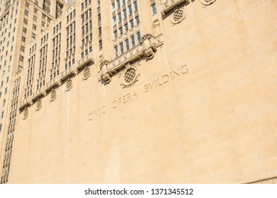 Chicago, USA - April 15, 2019: Chicago Civic Opera Building by the Chicago River.