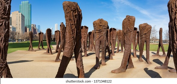 Chicago, USA - April 15, 2019: Agora is an installation of 106 headless and armless iron sculptures at the south end of Grant Park in Chicago. Designed by Polish artist Magdalena Abakanowicz.