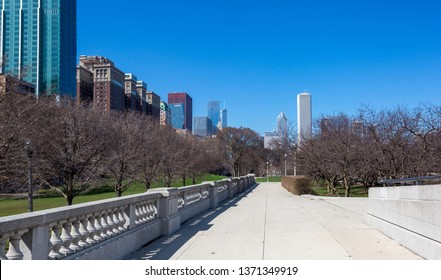 Chicago, USA - April 15, 2019: Chicago  buildings from Grant 's Park.