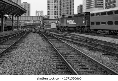 Chicago, USA - April 15, 2019: View of trains and railroads in Chicago.