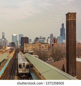 Chicago, USA - April 15, 2019: Chicago L Train tracks in the loop area of Chicago.