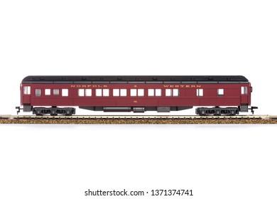 Chicago, USA - April 16, 2019: HO scale electric train car.