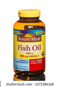 Chicago, USA - April 16, 2019: Nature Made fish oil gels. 1200mg Omega-3.