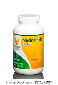 Chicago, USA - April 16, 2019: Vitamin Shoppe Niacinamide 500 mg dietary supplement.