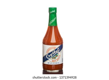 Chicago, USA - April 16, 2019: A bottle of Louisiana's pure Crystal hot sauce.