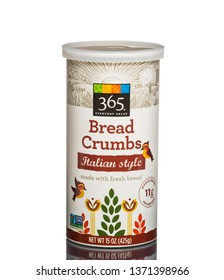 Chicago, USA - April 16, 2019: 365 Everyday Value bread crumbs Italian style.
