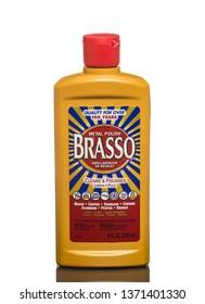 Chicago, USA - April 16, 2019: A bottle of metal polish Brasso.