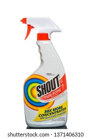 Chicago, USA - April 16, 2019: Bottle of Shout triple acting stain remover.