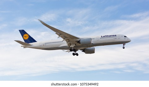 Chicago, USA - April 23, 2018: A Lufthansa Airlines Airbus A350 aircraft landing at O'Hare International Airport.