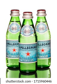 Chicago , USA - April 27, 2020: S. Pellegrino sparkling natural mineral water. Bottled at the source San Pellegrino terme in Bergamo, Italy.
