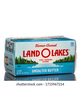 Chicago , USA - April 27, 2020: A package of the new Land O Lakes unsalted butter logo.
