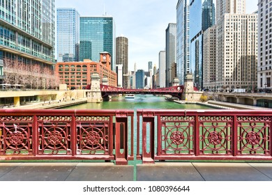 Chicago, USA - April 29, 2018: Chicago loop buildings and its bridges by the Chicago River.