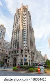 Chicago, USA - August 14, 2015: Chicago's famous Tribune Tower on Michigan Ave on a hot summer's day