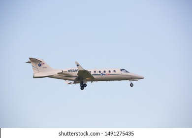 Chicago, USA - August 29, 2019: A Learjet of AeroCare Medical Transport System landing.