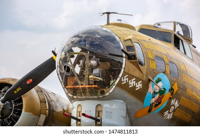 Chicago, USA - August 9, 2019: Front detail of a B-17 Bomber aircraft.