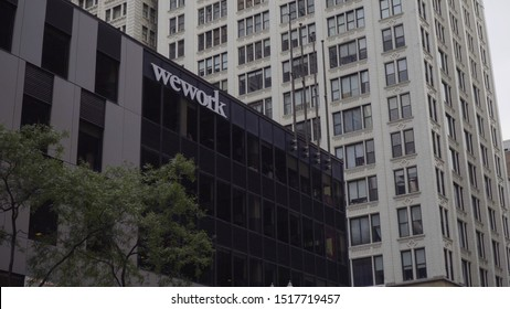 Chicago, USA - Circa 2019: Wework american real estate company provide shared work space for technology start up businesses