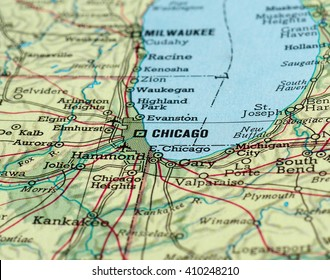 CHICAGO, USA - CIRCA APRIL 2016: Detail of a map of the city with selective focus on town name