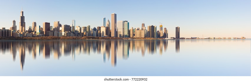 Chicago, USA - December 10, 2017: A panoramic view of the Skyline of the city of Chicago, Illinois.