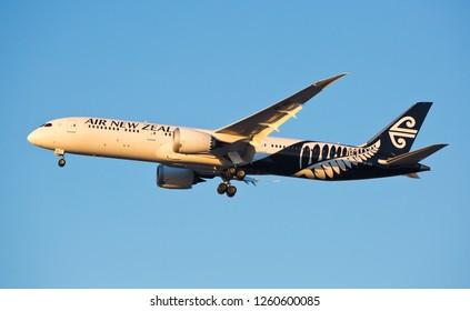 Chicago, USA - December 16, 2018: A Air New Zealand Boeing 787-9 Dreamliner aircraft landing at O'Hare International Airport.