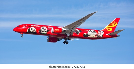 Chicago, USA - December 18, 2017:  A Hainan Airlines Boeing 787 aircraft displaying the Kung Fu Panda livery, on final approach to O'Hare International Airport.