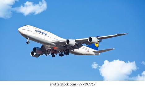 Chicago, USA - December 18, 2017: A Lufthansa Boeing 747-800 landing at O'Hare International Airport.